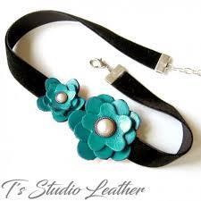 leather flower necklace images Turquoise leather flower choker necklace velvet little black dress jpg