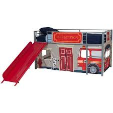 boys u0026apos fire department twin loft bed with slide red walmart com