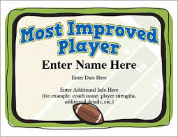 most improved player football certificate award templatefootball