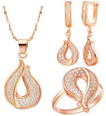 saudi arabia gold earrings 18k gold plated jewelry set necklace earrings rings with