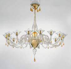 Chandeliers Modern Modern Murano Chandelier Lighting Clear Glass And Gold Metal