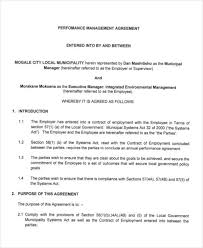 performance agreement contract printable pdf version performance