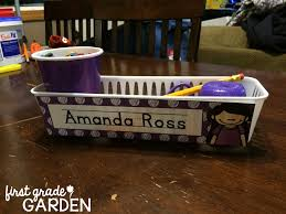 Open Front Student Desk by Individual Pencil Trays For Students With Polka Dot Name Tags