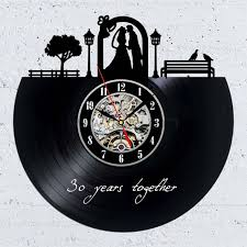 personalized anniversary clocks vinyl record wall clock gift idea for 30th anniversary