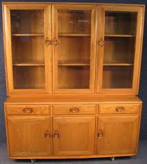 3 Door Display Cabinet Ercol Elm 3 Door Display Cabinet On Sideboard Base In