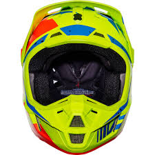 fox helmets motocross fox racing 2017 mx new v2 nirv flo yellow blue dirt bike