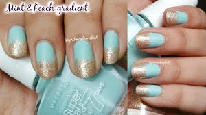 nail art mint and peach glitter gradient quick n easy youtube