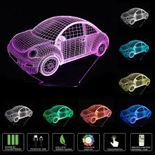 novelty beetle car 3d night light led usb 7 color change led table