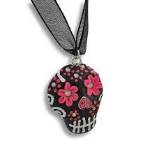 skull ribbon black pink day of the dead sugar skull ribbon choker necklace