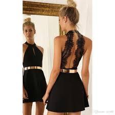 black semi formal dresses 2017 a line black halter lace