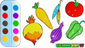 coloring pages vegetables for kids u0026 drawing for children how to