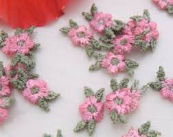 pink flower applique etsy
