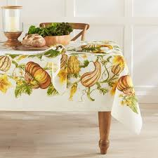 autumn harvest table linens botanical pumpkin gourd print tablecloth 70 x 108 www williams