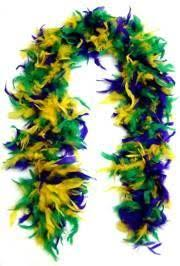 purple green and yellow feather boas