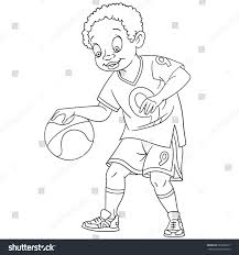 coloring page boy playing basketball colouring stock vector