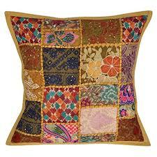canape indien brodé motif patchwork coton canapé housse de coussin 45x