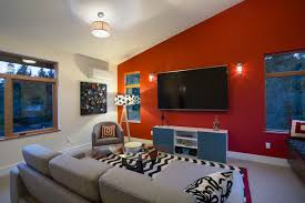 elegant accent wall with red furniture on red 5748 homedessign com