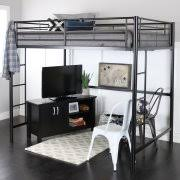 Bed Full Premium Full Size Black Metal Loft Bed Walmart Com