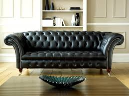 black leather sofa and gothic style