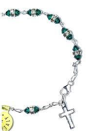 bracelet rosary green strass silver rosary bracelet