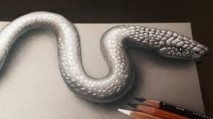 how to draw a realistic 3d snake youtube