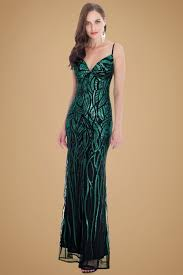 30s vera sequin maxi party dress in emerald