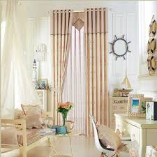 Nautical Window Curtains Polyester Privacy Nautical Printed Seashell Pattern Curtain For