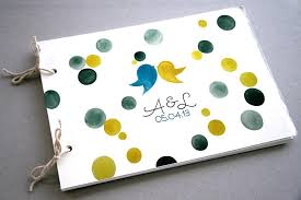 wedding guest book photo album custom wedding guest book album with birds modern minimalist