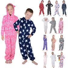 boys hooded fleece all in one pyjamas pj nightwear ebay