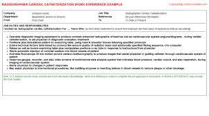 Sonographer Resume Sample by Radiographer Cardiac Catheterization Cv Work Experience Samples