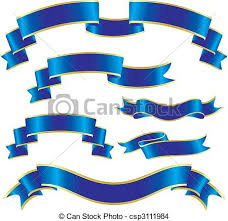 blue and gold ribbon set of blue ribbons eps vector search clip illustration
