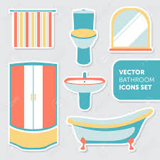 colorful vector set of bathroom icons in modern flat style