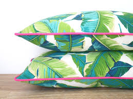Outdoor Fabric Tropical Outdoor Pillow Cover Palm Leaf Pillow Pink Piping