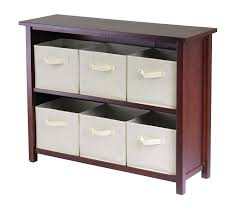 Storage Cabinet With Baskets Amazon Com Winsome Wood Verona Wood 3 Tier Open Cabinet With 6