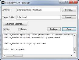 sign apk repackage an app using the blackberry in for android studio