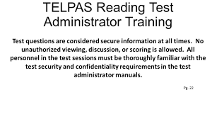 telpas rater u0026 reading test training ppt video online download