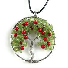 charm necklace with beads images Tree pendant tree of life red round beads pendant necklace tree of jpg
