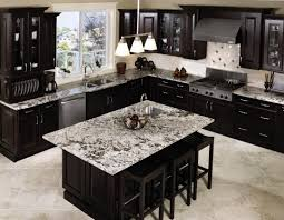 unusual dark kitchen design with cream tile backsplash and dark