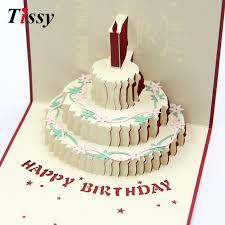 1pc 3d happy birthday cards birthday cake laser cut folding