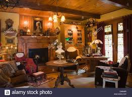 living room of 1970s reconstruction of log home filled with