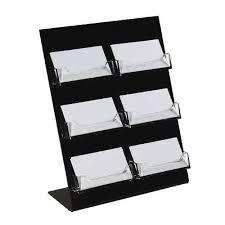 Black Business Card Holder Acrylic Desktop Business Card Holder 6 Pocket 3 Tier Black