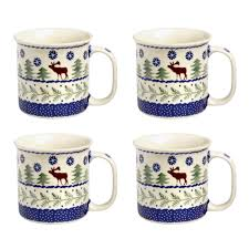 pottery deer pine can mugs set of 4 tree shops