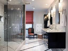 black and white modern bathroom black wall ocean blue wall brown