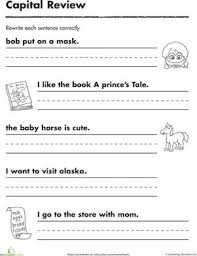 1st grade 1st grade capitalization and punctuation worksheets