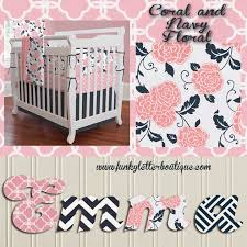 the funky letter boutique gorgeous coral and navy floral nursery