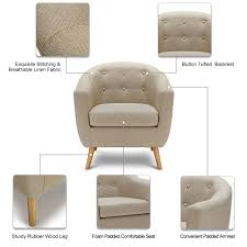 Bedroom Accent Chair Ikayaa Mid Century Linen Fabric Tufted Living Room Accent Sales