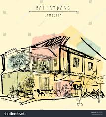 French Colonial Architecture Battambang Cambodia Southeast Asia Residential House Stock Vector