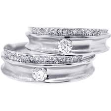 wedding ring sets his and hers white gold solitaire diamond wedding rings his bands set 18k gold