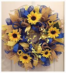 sunflower mesh wreath sunflower blue burlap and yellow deco mesh wreath sunflower