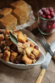 cranberry cornbread with smoked oysters and sausage